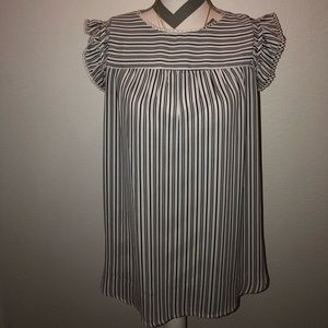 LOFT striped tank with lace detail